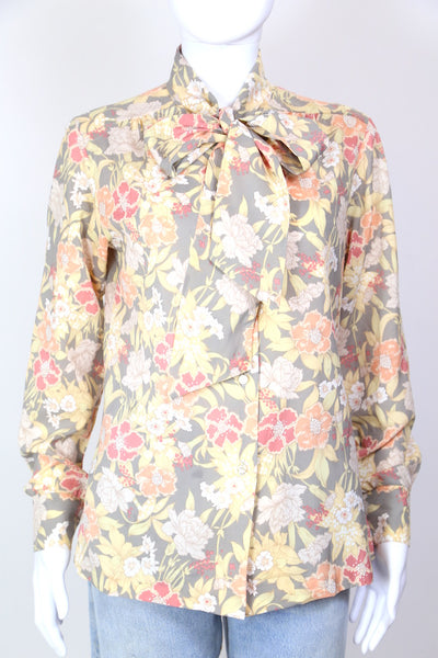 1980s Women's Floral Print Tie Neck Blouse - Multi S