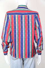 1980s Women's Stripe Print Shirt - Multi S