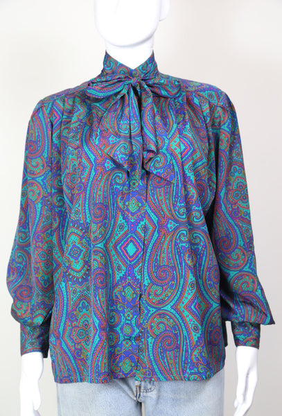 1980s Women's Paisley Print Tie Neck Blouse - Blue S