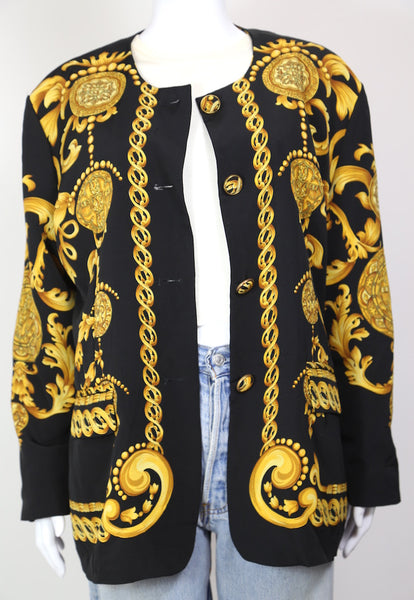 1980s Women's Chain Print Blazer  - Black L