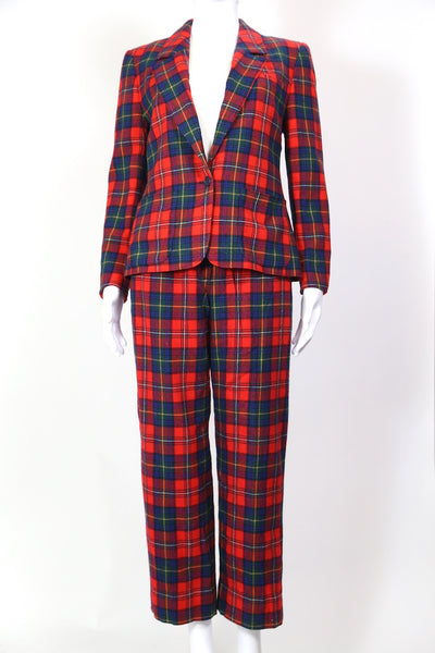 1980s Women's Pendleton Tartan Suit Co-ord - Red 28W