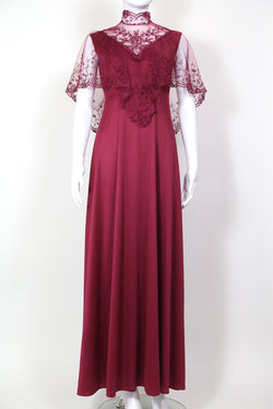 1980s Women's Lace Maxi Dress - Red S