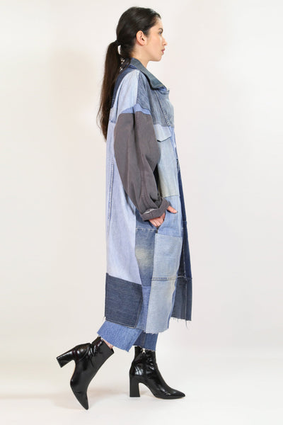 Custom Vintage Denim Minola Duster Coat - Blue ONE SIZE