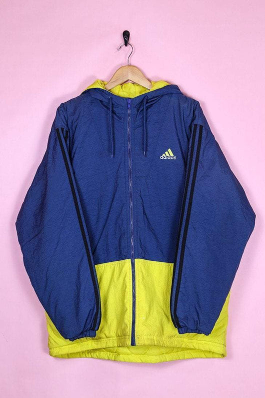 Adidas Coat L-XL / Blue Adidas Yellow Card Hooded Sports Jacket