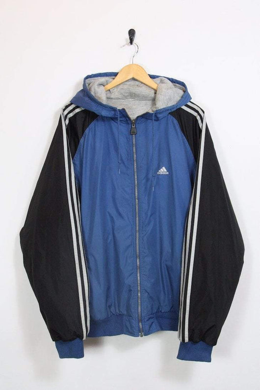 Adidas Jacket XL / blue Vintage Reversible Adidas Hooded Jacket