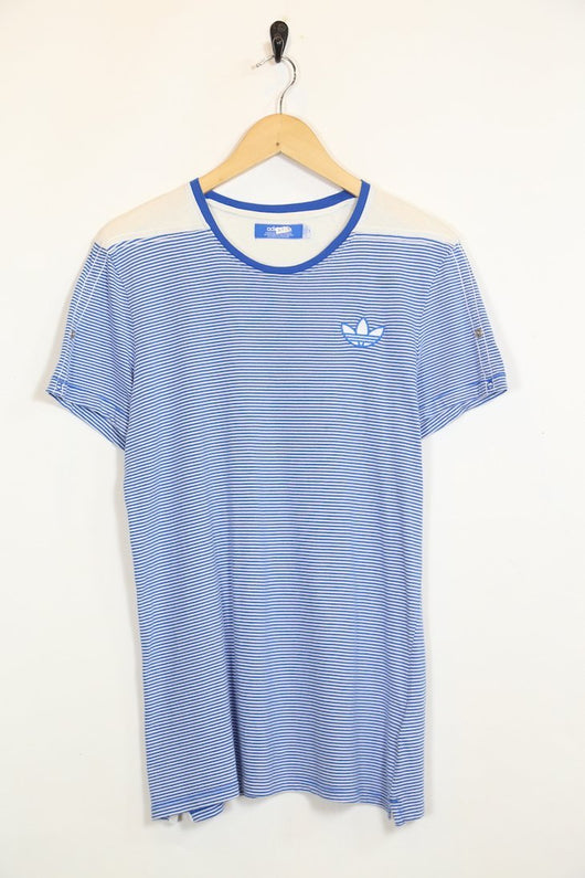 Adidas T-Shirt M / Blue / Cotton Men's Adidas Striped T-Shirt - Blue M