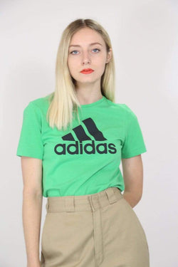 2000s Women's Adidas Printed T-Shirt - Green XS
