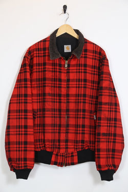 Carhartt Checked Bomber Jacket - Red XL