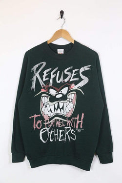 1990s Men's Taz Printed Sweatshirt - Green L
