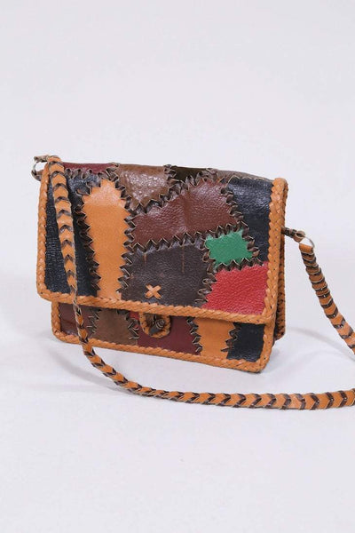 Loot Vintage Bag Vintage Leather Patchwork Handbag