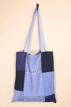 Loot Vintage Bag Vintage Reworked Denim Patchwork Tote Bag