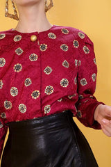 Loot Vintage Blouse Red Silk Jacquard Blouse