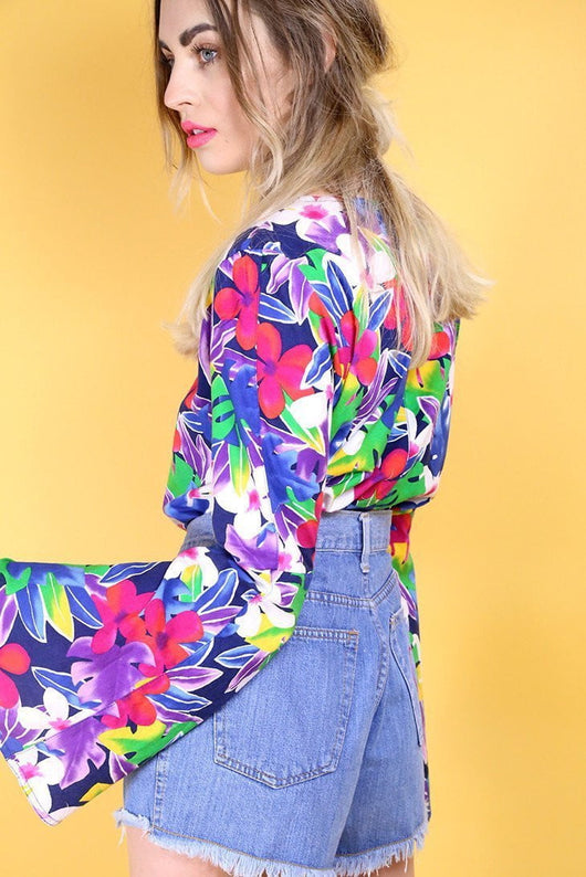 Loot Vintage Blouse Vintage Reworked Vibrant Bell Sleeve Blouse