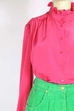 Loot Vintage Blouse Women's 80s Frill Collar Blouse - Pink L