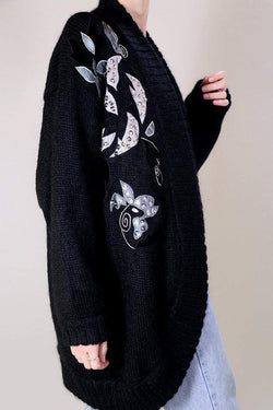 Loot Vintage Cardigan 14 / Black Oversized Wool Cardigan