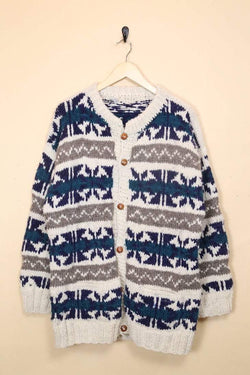 Loot Vintage Cardigan Chunky Patterned Cardigan