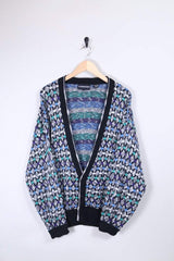 Loot Vintage Cardigan Large / Multicoloured Cyan Grain Cardigan
