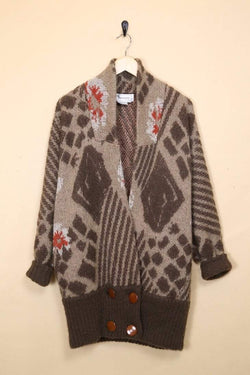 Loot Vintage Cardigan Patterned Longline Cardigan