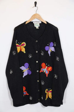 Loot Vintage Cardigan Vintage Embroidered Butterfly Cardigan