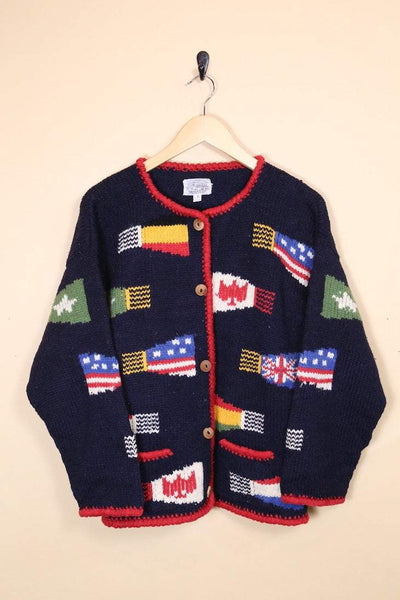 Loot Vintage Cardigan Vintage World Flag Cardigan