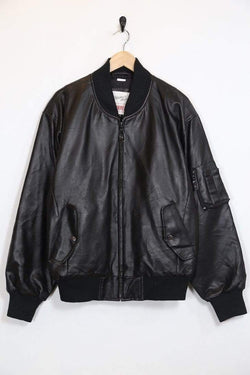 Loot Vintage Men's Faux Leather Bomber Jacket - Black M
