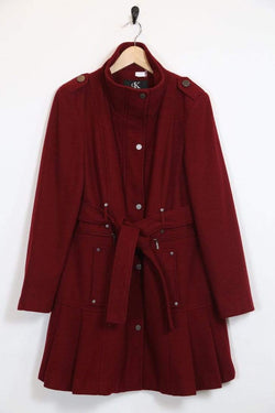Loot Vintage Women's Calvin Klein Wool Coat - Red M