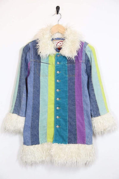 Kids Rainbow Stripe Coat - Blue 10-12 Years