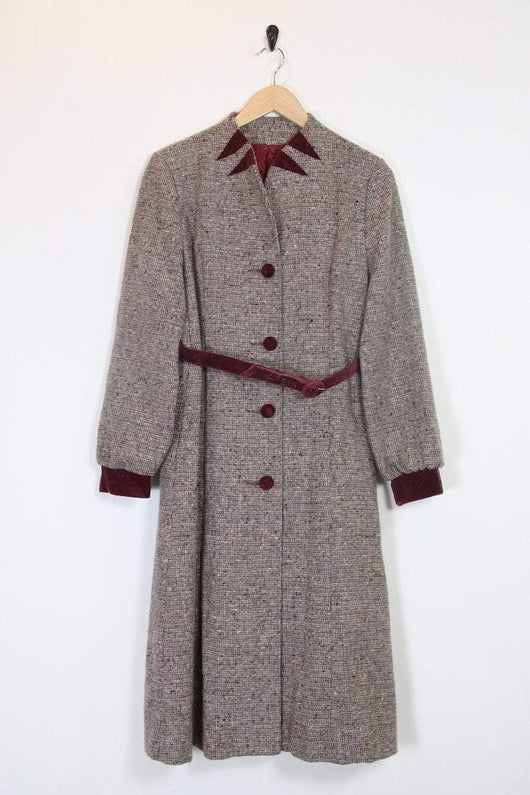 1980s Women's Fleck Maxi Coat - Brown S