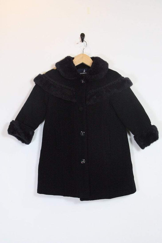 Loot Vintage Coat Vintage Girls Faux Fur Trim Coat