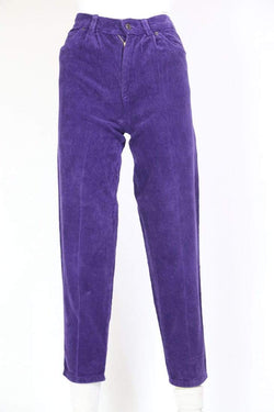 Loot Vintage Cords Women's High Waisted Cord Ttousers - Purple XS