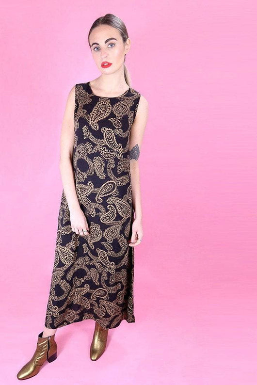 Loot Vintage Dress 10 / Brown Peanut Paisley Dress