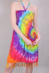 Loot Vintage Dress 10 / Multi Rainbow Tie Dye Dress