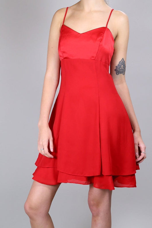 Loot Vintage Dress 10 / Red Cherry Satin Dress