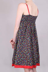 Loot Vintage Dress 10 / Red Strappy Floral Dress