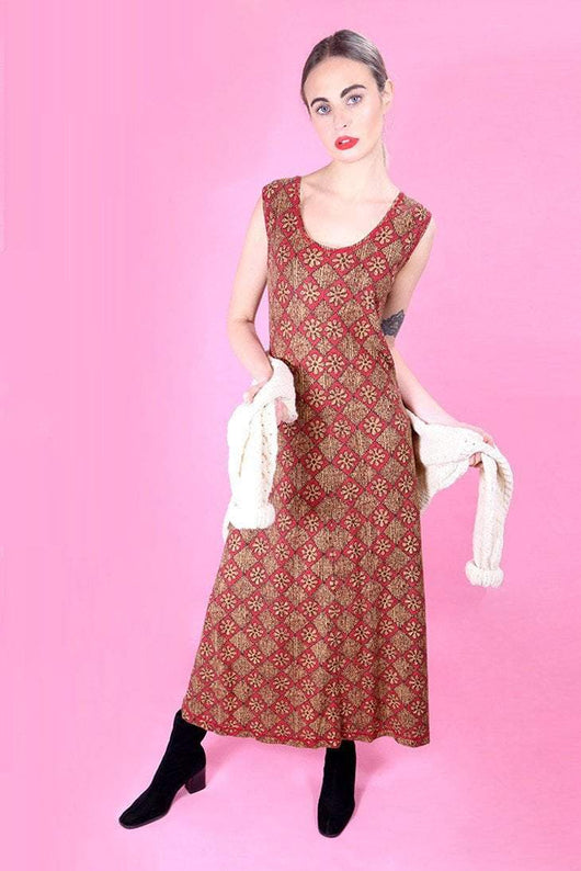 Loot Vintage Dress 10 / Red Vintage Printed Maxi Dress