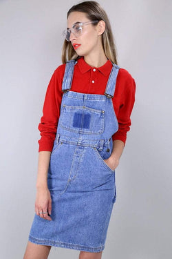 1990s Women's Denim Pinafore Dress - Blue M - Loot Vintage