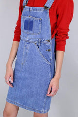 Loot Vintage Dress 12 / Blue Vintage 80s Denim Pinafore Dress