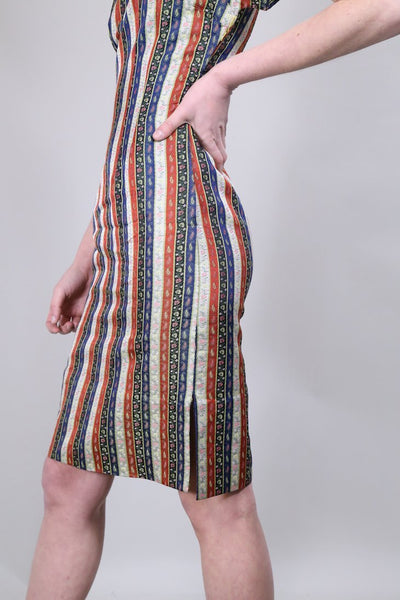 Loot Vintage Dress 8 / Multicoloured Stripe Cheongsam Dress