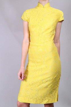 Loot Vintage Dress 8 / yellow Vintage Cheongsam Lace Dress