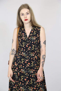 Loot Vintage Dress M / Black / Rayon Womens Floral Maxi Dress - Black M