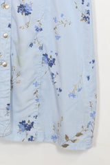 Loot Vintage Dress M / Blue / Cotton Womens Vintage Floral Shirt Dress - Blue M