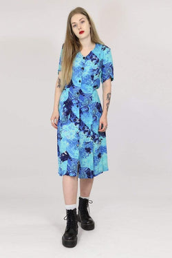 Loot Vintage Dress M / Blue / Rayon Womens Vintage Floral Dress - Blue M
