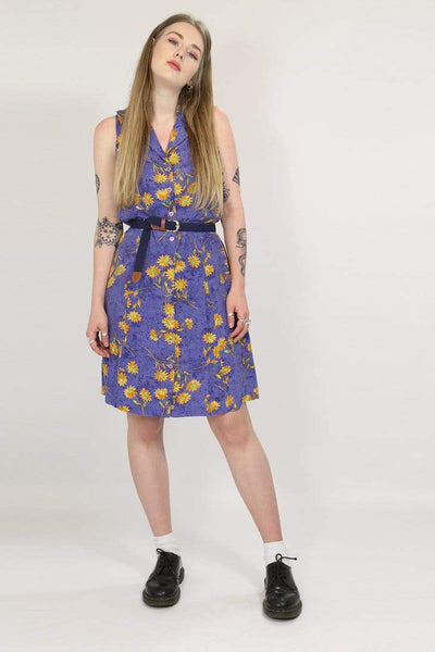 Loot Vintage Dress M / Purple / Rayon Womens Sunflower Dress - Blue M