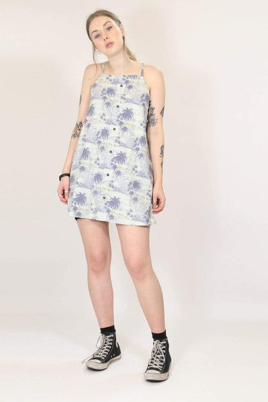Loot Vintage Dress Reworked Hawaiian Slip Dress - Blue XS