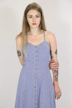 Loot Vintage Dress S / Blue / Cotton Women's Picnic Summer Dress - Blue S