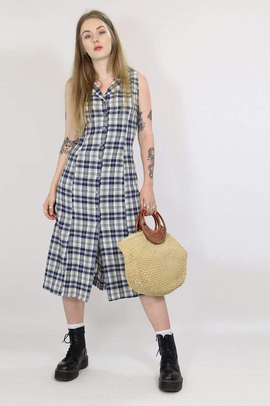 Loot Vintage Dress S / Blue / Rayon Women's Vintage Checked Dress - Blue S