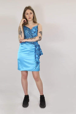 Loot Vintage Dress S / Blue / Satin **Women's Sequin Dress - Blue S
