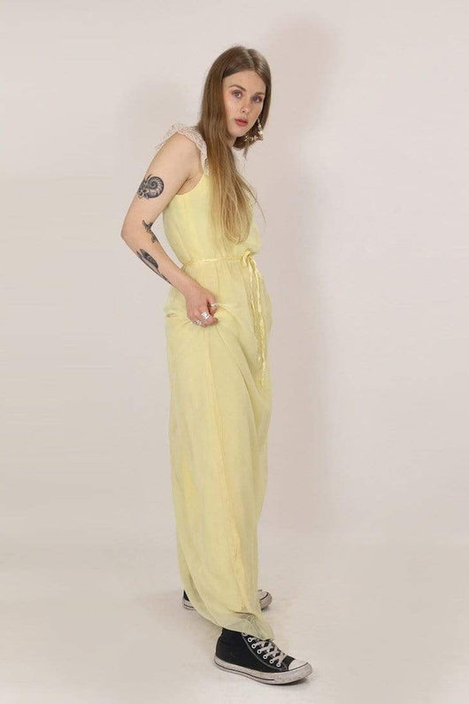 Loot Vintage Dress s / Yellow Women's Lace 1970's Maxi Dress - Yellow S