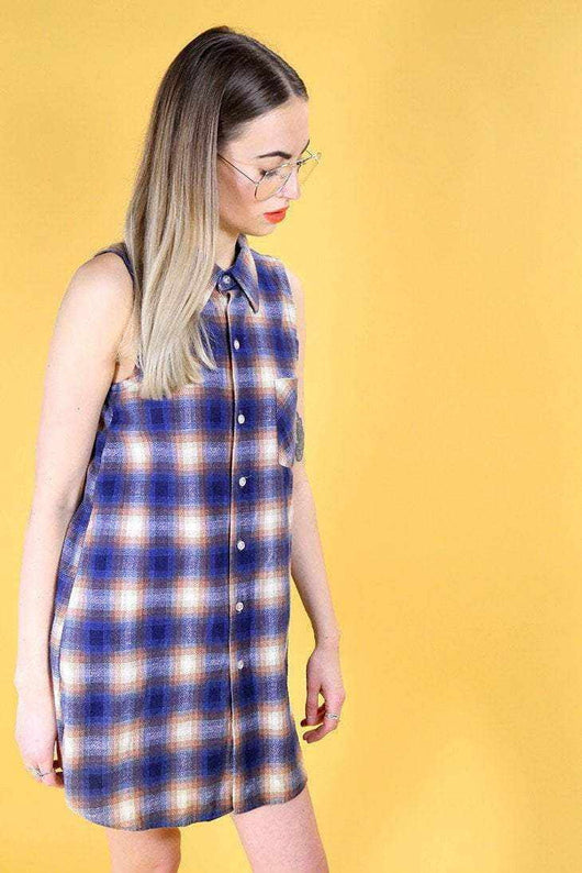 Loot Vintage Dress Vintage Reworked Checked Shirt Dress