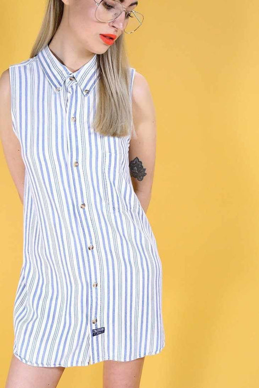 Loot Vintage Dress Vintage Reworked Denim Stripe Shirt Dress